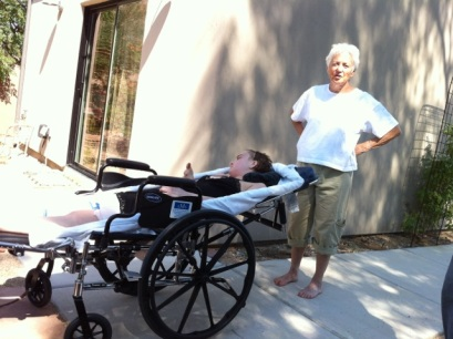Elizabeth Blue, hospice, reclining wheelchair,