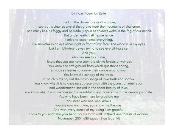 Elizabeth Blue, poetry, birthday poem, Elizabeth Meagher, Zelie Duvauchelle,